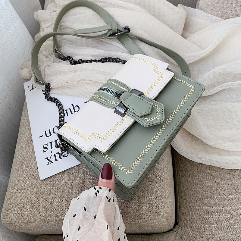 ETAILL High Quality Luxury Brand Lady Bag 2019 New Retro PU Lock Single Shoulder Fashion Embroidered Chain