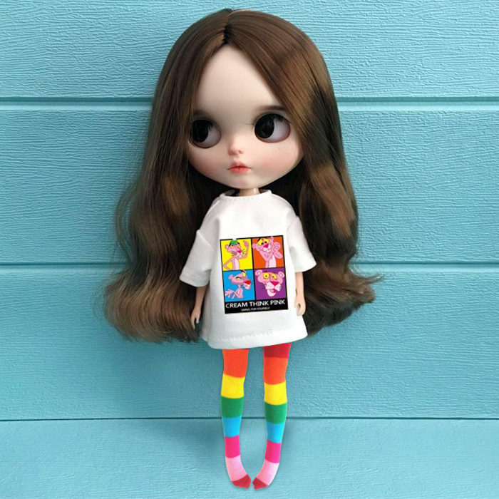 1/6 Fashion Doll Clothes Blyth Doll Accessories Fashion Carton T-shirt+rainbow Stocking For Blyth Clothing Pullip Doll For Barbi