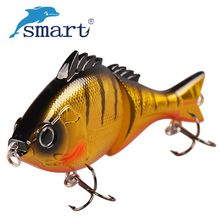 Smart 2 Jointed Fishing Lures 80mm 13.7g Minnow Bait 3D Eyes Floating Lure Saltwater Fishing Wobblers Leurre Souple Jerkbait(China)