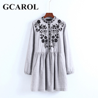 GCAROL New Black Floral Embroidered Women Dress Stand Collar Vintage Dress Mid Waist Pleated Dress For Spring Autumn Winter
