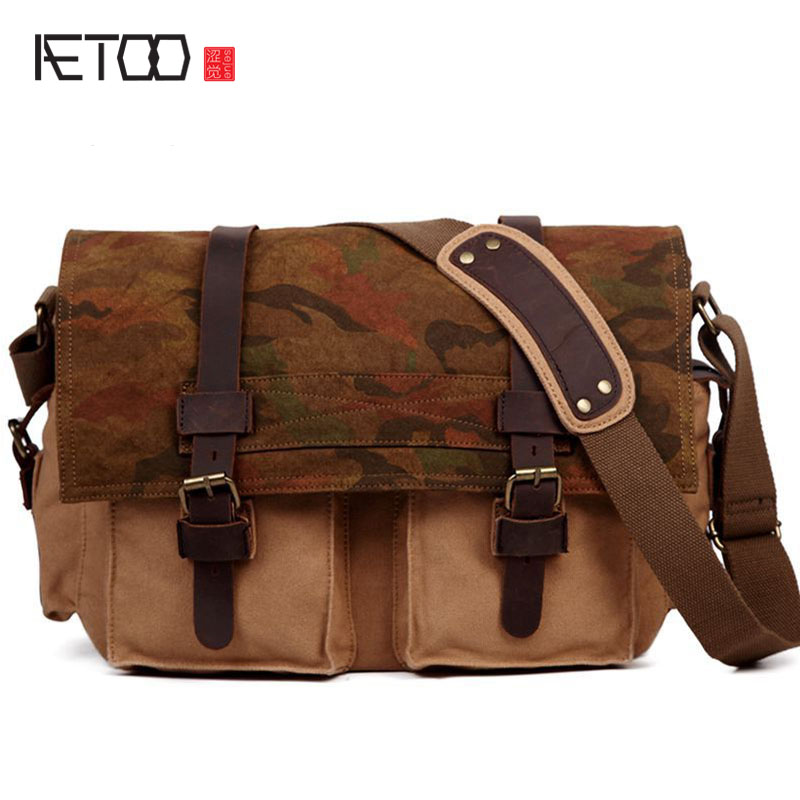 AETOO Europe and the United States oblique cross package canvas bag camouflage cloth men and women shoulder bag fashion japanese pouch small hand carry green canvas heat preservation lunch box bag for men and women shopping mama bag