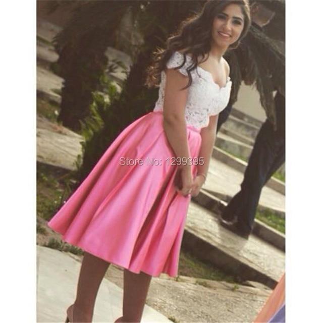 Falda de color rosa y marfil encaje corto de dos piezas de baile ...