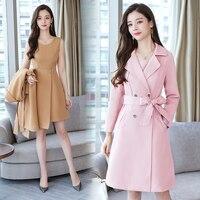 2019 Spring Autumn Two Piece Set Women Mid Long Trench Coat + Sleeveless Dress Suit Set Vogue Slim OL Work Formal Business Sets