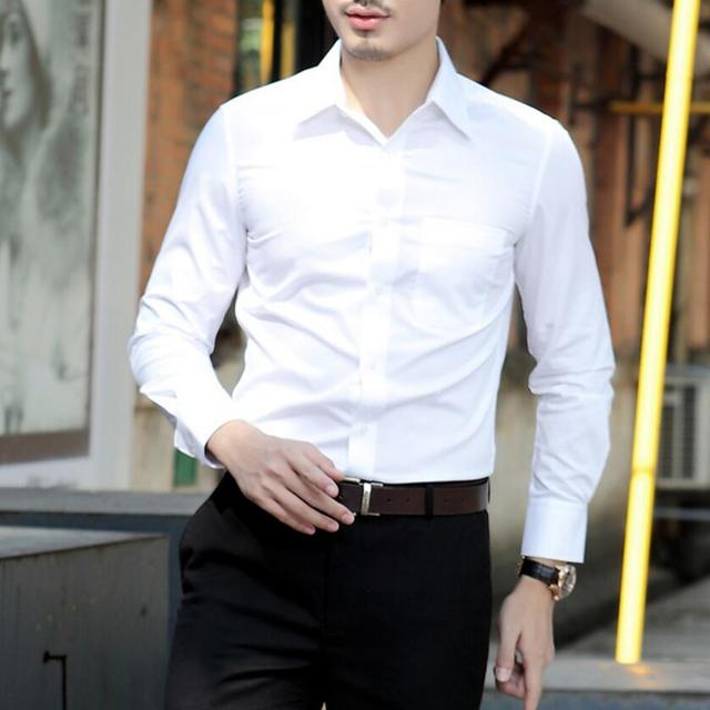 Wedding White Shirt: Simple Style Men's Shirts Of High Quality Pure Color