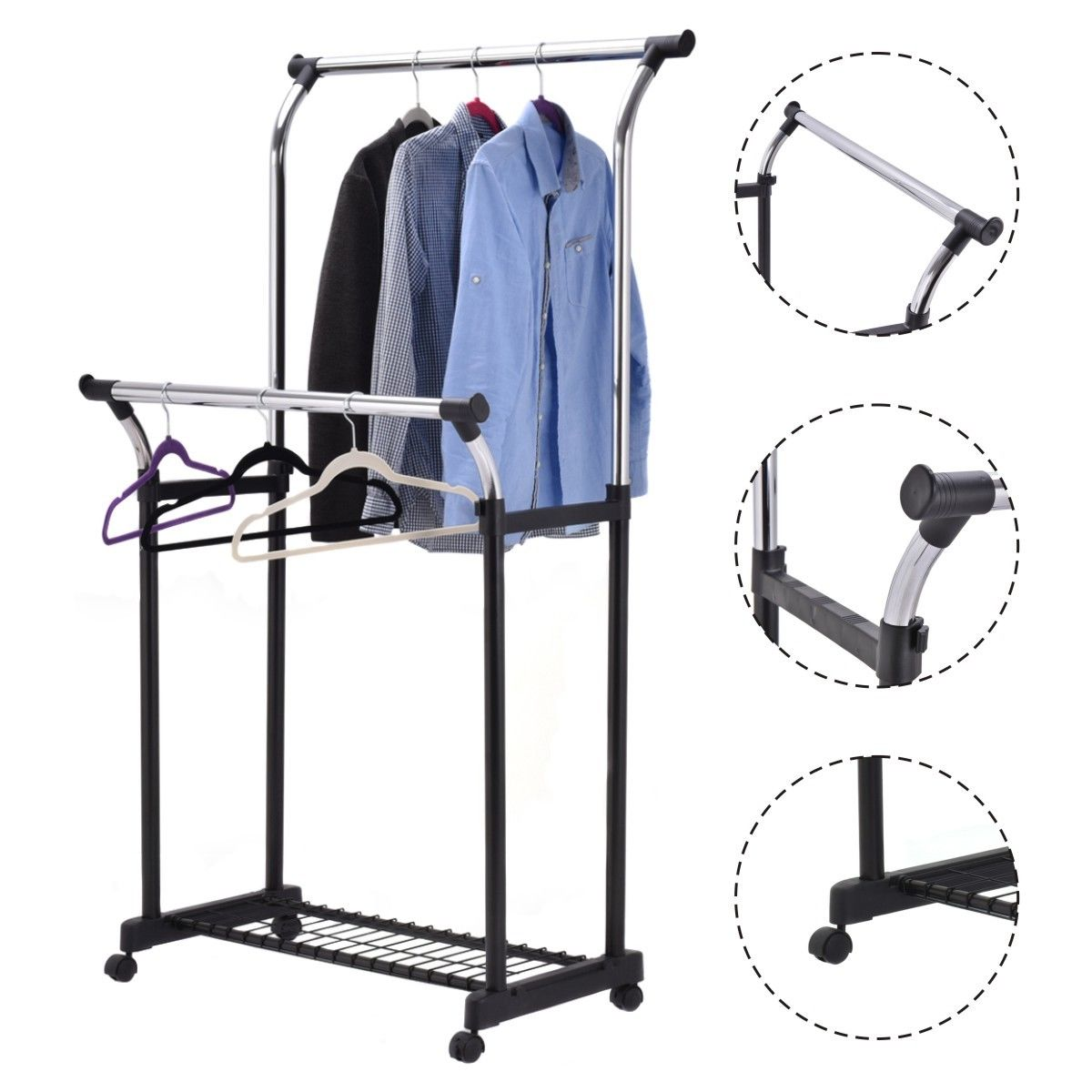 Goplus Double Rail Adjustable Garment Rack Portable
