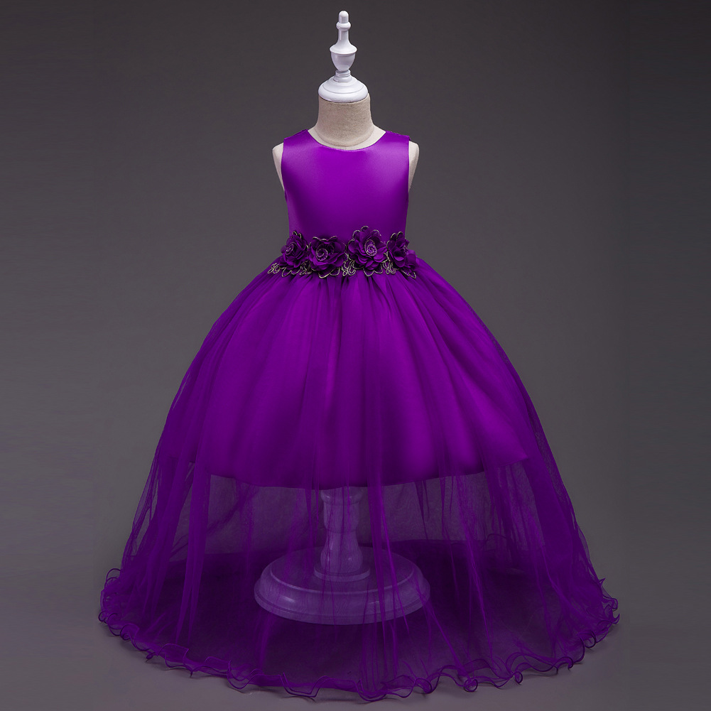 3 10Years Princess Party Dress for Children Bridesmaid Red Purple ...