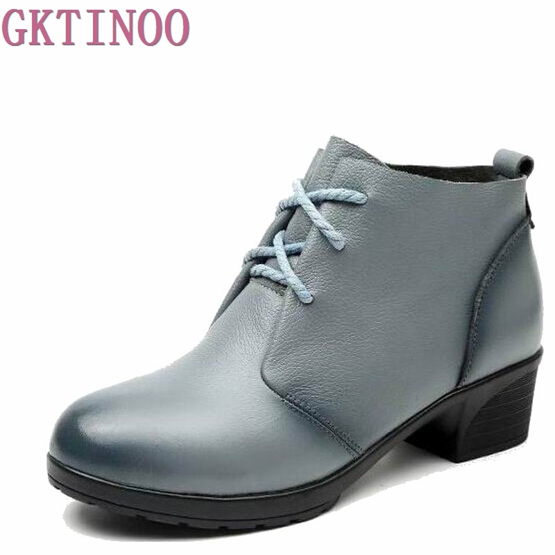 Autumn Winter Lace Up Women's Ankle Boots 2018 New Arrival Genuine Leather Shoes Women Square Heel Martin Boots front lace up casual ankle boots autumn vintage brown new booties flat genuine leather suede shoes round toe fall female fashion