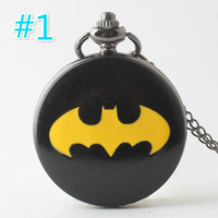 10pcs Batman New Style Pocket Watch Necklace Pendant Super Hero High Quality Pocket Watch