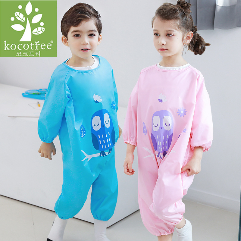 Kocotree Baby Waterproof Rompers kids Girl Boy Long Sleeve Waterproof Painting Clothes Dirt Proof Play Mud One-Piece Sets mother nest 3sets lot wholesale autumn toddle girl long sleeve baby clothing one piece boys baby pajamas infant clothes rompers