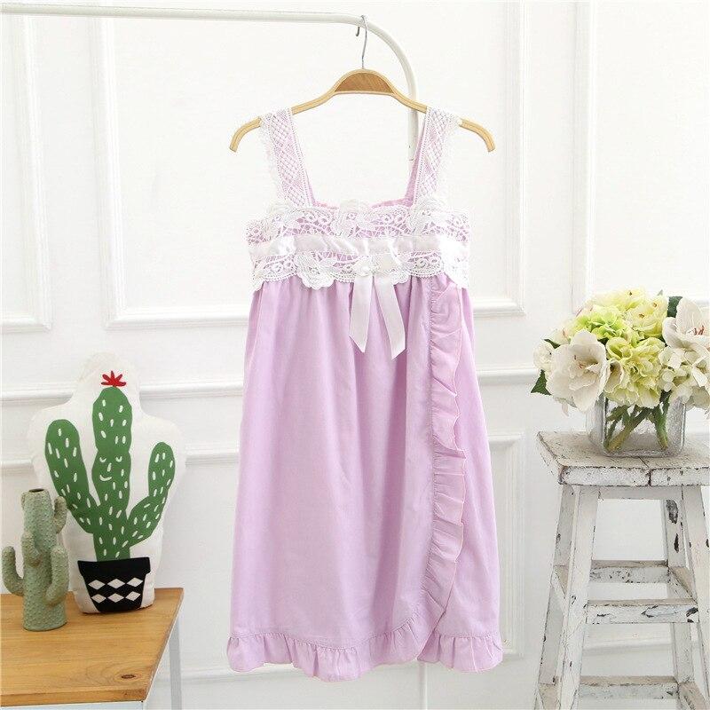 New Strap Bowknot Lace Summer 2019 Homewear Cute   Nightgown   Nightdress Girls   Sleepshirt   Ruffled Cotton Sleeveless Lounge D86603