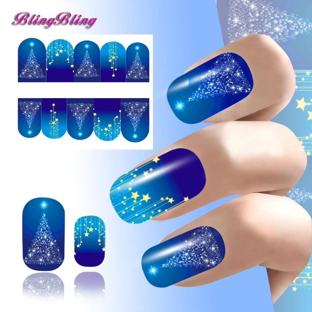 2PCS Xmas Theme Nail Art Decoration Nail Sticker Blue Star Design ...