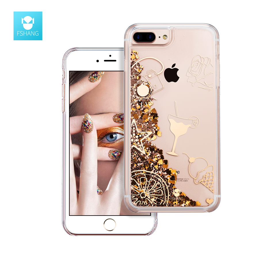Galleria fotografica FSHANG For iPhone 6S 6 Case Dynamic Liquid Cute Mobile Glitter Sand Bling Sequin Quicksand Clear Cover For iPhone 6 S Plus Coque