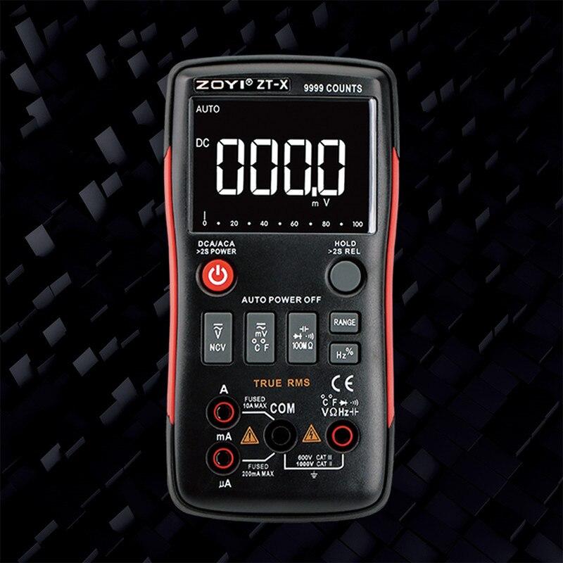 ZOYI ZT-X-True RMS AUTO Faixa de Multímetro Digital AC/DC Voltímetro Amperímetro NCV 9999 contagens display LCD backlight inglês/Russo m