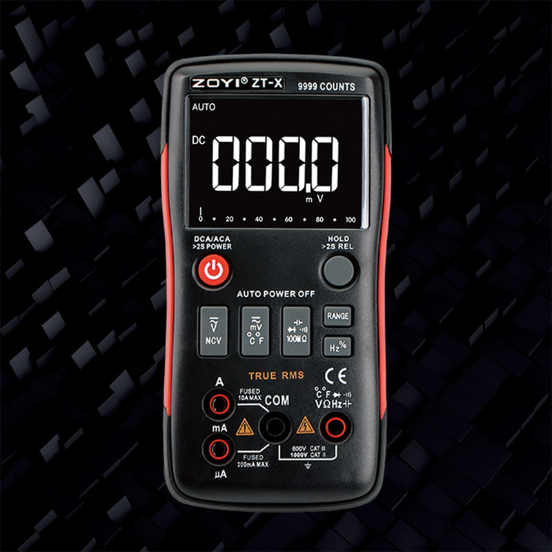 ZOYI ZT-X True-RMS AUTO Range Digital Multimeter AC/DC Voltmeter Ammeter 9999 Counts NCV LCD Backlight Display English/Russian M