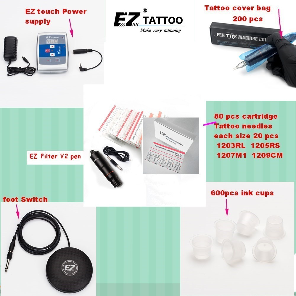 EZ Tattoo Supply Kits  Filter V2 Pen Cartridge Tattoo Needles Foot Switch Power Supply Ink Cups for tattooist 1 set/lot black red yellow blue skull design stainless steel tattoo foot pedal switch footswitch power supply