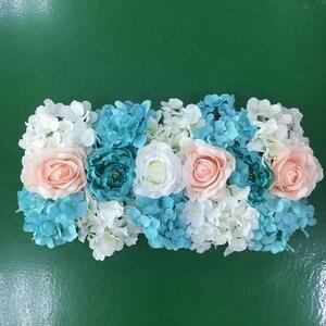 Image 2 - Flor de seda artificial 2 pces 50cm estrada do casamento chumbo hortênsia peônia rosa flor casamento arco quadrado pavilion cantos decoração flores