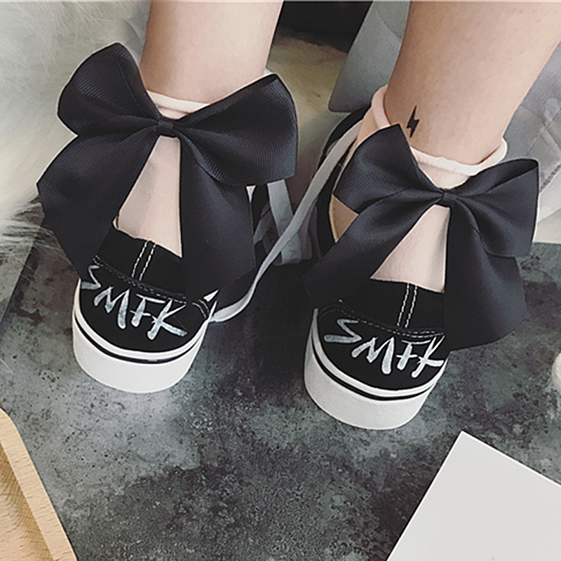 Sale Chic Streetwear Bow   Socks   Women's Lovely Candy Color Casual Female Contrast Cute Ladies Bow Short   Socks   Drop Shipping