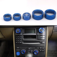 Fit For Volvo XC90 2009 2014 5pcs Aluminium Alloy Car Air Conditioning Fan Button Audio Control Knob Ring Trim Styling Accessory