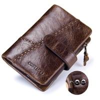 2018 Top Vintage Men Leather Luxury Wallet Cash Coin Business Casual Wallet Short Slim Male Purses Money Clip Credit Card Wallet