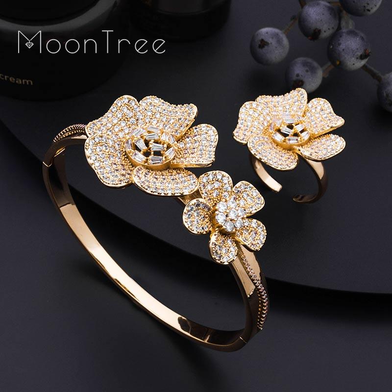 MoonTree Luxury Daisy Flower Super Full Micro Paved Cubic Zircon Silver Bangle Ring Set Nigerian Jewelry