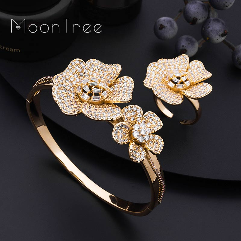 MoonTree Luxury Daisy Flower Super Full Micro Paved Cubic Zircon Silver Bangle Ring Set Nigerian Jewelry Set For Women inbike bike light ultra bright waterproof bicycle front led flashlight cycling usb rechargeable headlight ultralight biking lamp