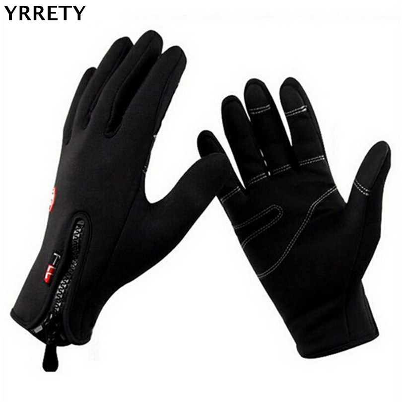 YRRETY Winter Fashion Men Warm Thick Cycling Solid Color Glove Waterproof Bicycle Ski Bike Full Finger Screen Thickening Gloves