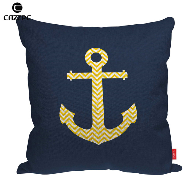Nautical Anchor Navy Yellow Chevron Geometric Print Linen Car Sofa Chair  Decorative Throw Pillowcase Cushion Cover