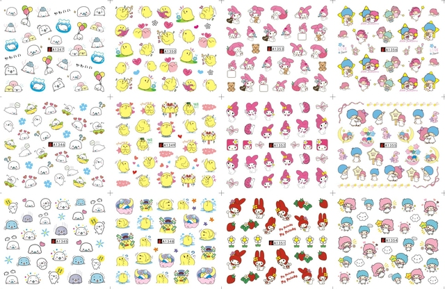 12 Sheets Lot Nail A1345 1356 Cartoon En Mymelody Art Water Wraps Sticker