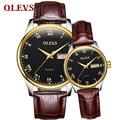 Мужские и женские часы OLEVS  романтичные водонепроницаемые часы с кожаным ремешком и золотым циферблатом  светящиеся наручные часы