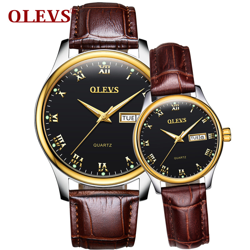 OLEVS Romantic Couple Watches for Men Women Leather Strap Gold Dial Waterproof Watch Luminous Hands Bracelet Lovers Wristwatches olevs luminous hands women men quartz watch luxury gold case leather ladies wristwatches steel belt couple lovers watches clock
