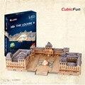 Cubicfun L517h Лувра 3D Головоломки Игрушки Со СВЕТОДИОДНОЙ Light Puzzle 3D DIY Коллекционные Модели Рождественские Подарки Ручной Работы Развивающие Игрушки