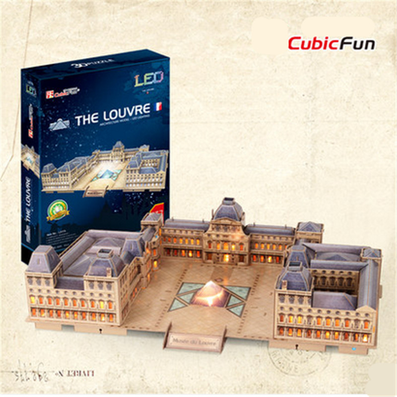 Cubicfun L517h The Louvre 3D Puzzle Toys With LED Light Puzzle 3D DIY Collectible Model Christmas Gifts Handmade Educational Toy cubicfun 3d puzzle diy paper model building p615 dollhouse garden villa puzzle 3d handmade lovely toys for kids christmas gifts