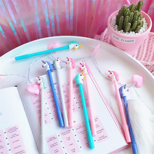6 pcs/Lot Cartoon Unicorn gel Pen 0.5mm ballpoint Black color pens writing Girl gift Stationery School & Office supplies A6152