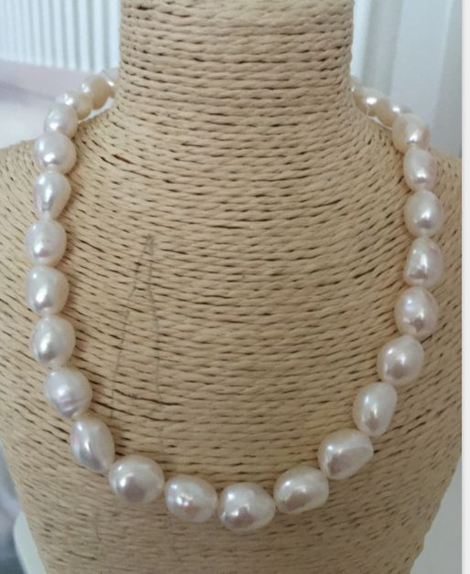 elegant 11-12mm south sea baroque white pearl necklace 18inch 925 silver