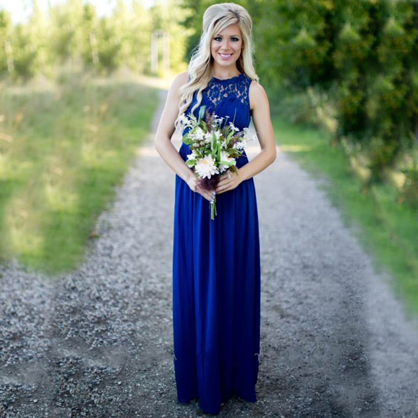 590d767aed2 WB627 Vintage Royal Blue Bridesmaid Dress Sexy Lace Chiffon O Neck with  Pleat Cheap Long Women Maxi Dress Wedding Guest Dress
