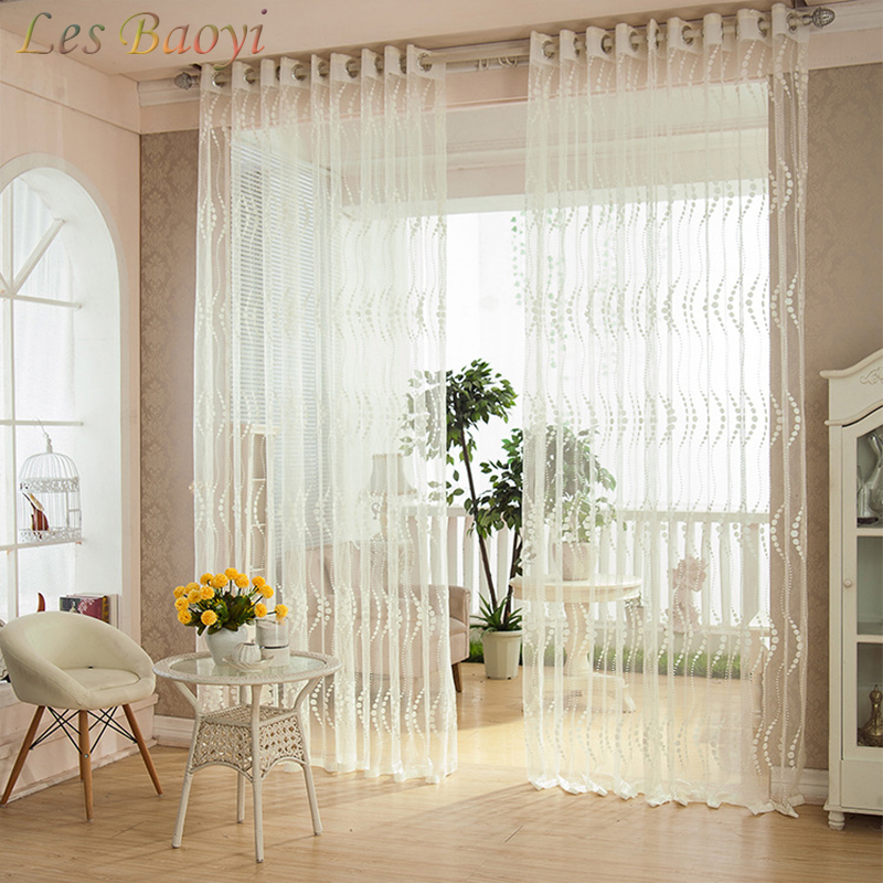les baoyi new european style window screening sheer white flocked tulle curtain for bedroom. Black Bedroom Furniture Sets. Home Design Ideas