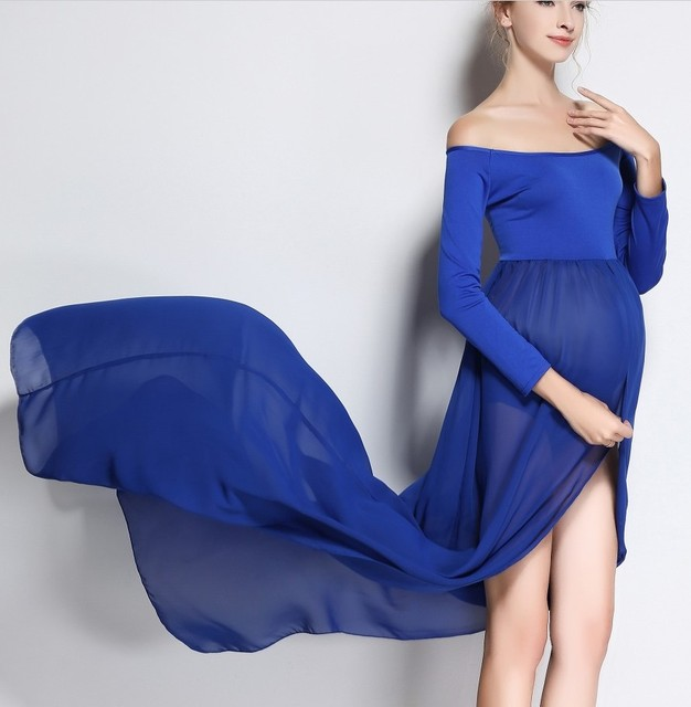 Charming Blue Plus Size Pregnant Photography Props Pregnancy Maternity Dress  Maternity Photo Shoot Long Dress Baby Shower