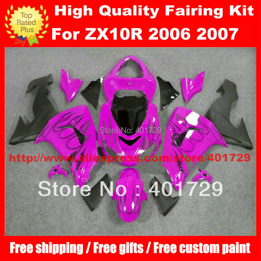 Racing motorcycle fairing for ZX10R 2006 2007 ZX-10R black flame in purple/black free custom paint body work