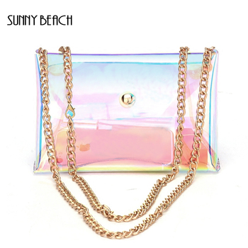 SUNNY BEACH  Brand 2017 New Hologram Bag Women Hand Clutches PVC See Through Clear Small Bag Chains Bag holographic belt purse