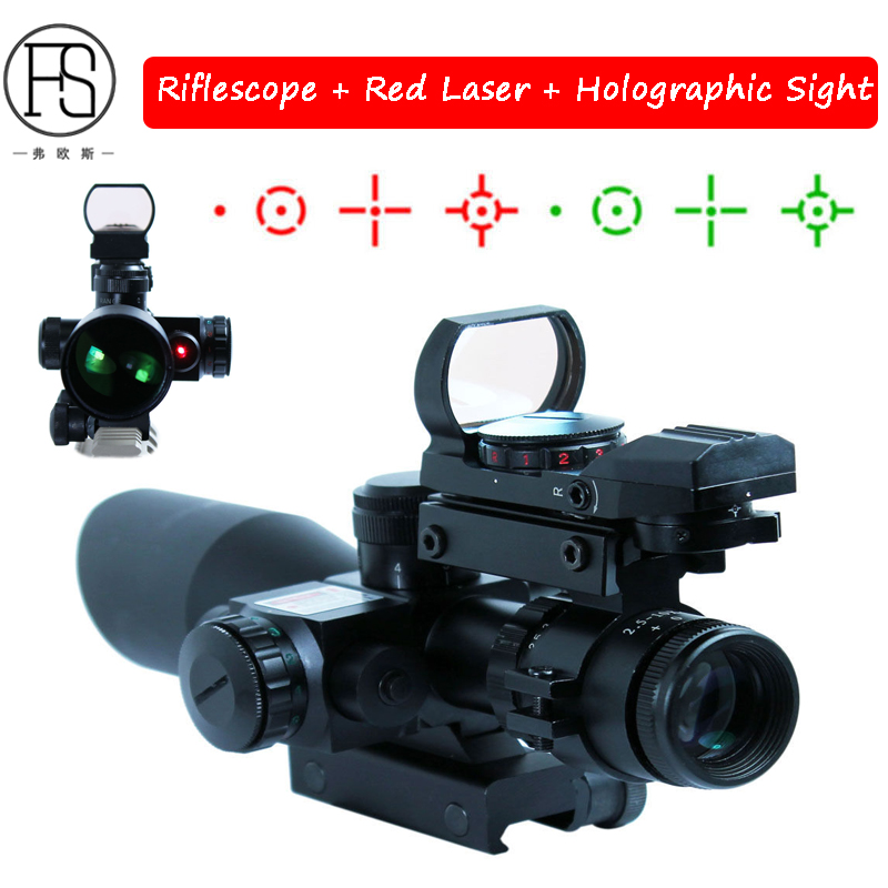 Tactical 2.5-10x40 Riflescope With Red Laser Holographic Sight Optics Red Dot Sight Scope Outdoor Hunting Shooting Sight hot tactical riflescope 2 5 10x40 optics red laser holographic sight scope illuminated shooting hunting scope 11 20mm rail mount