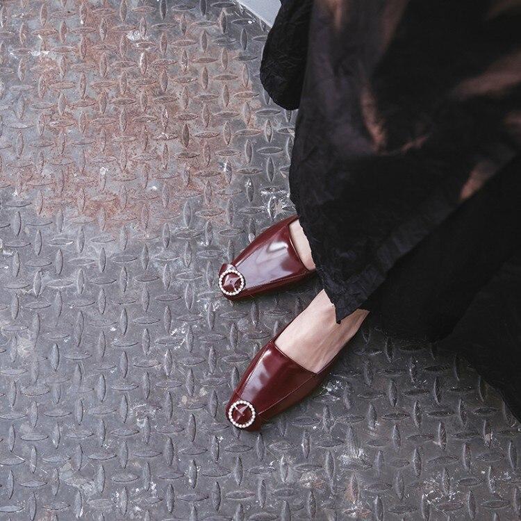 Up La Cristal Arrivée Dame Nouvelle Mules Lace Bout Noir À Stylesowner Cheville Pantoufle rouge 2018 Chic Baotou Boucle Chaussures Sandalias Mode wqv5xZPEI