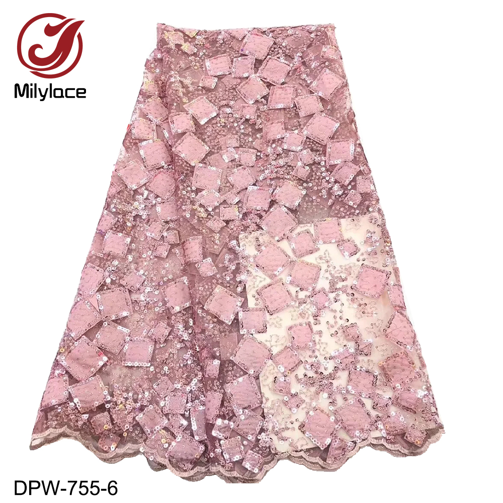 Milylace beautiful French lace fabric 5 yards pink checked embroidery tulle lace fabric with sequins for