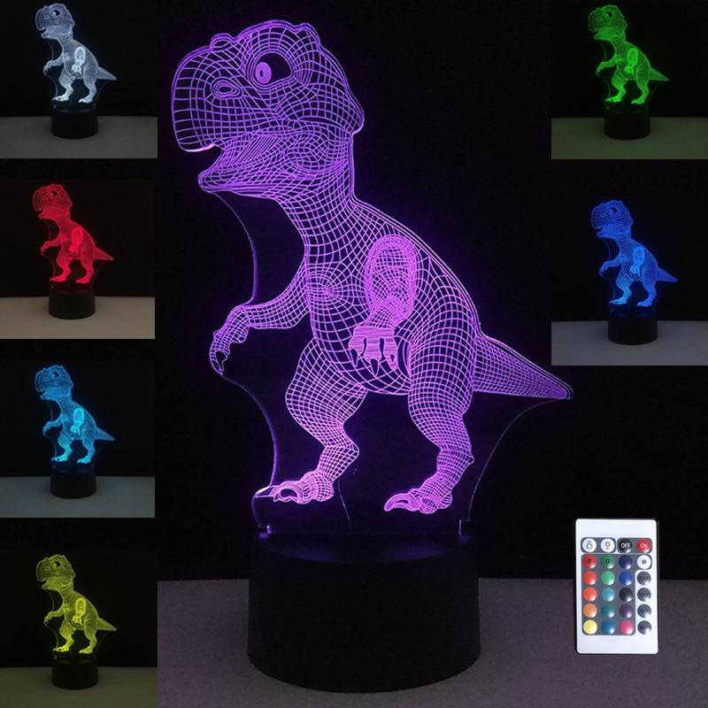 US Dinosaur 3D Night Light Table Desk Lamp 7 Colors 3D Optical Illusion Lights