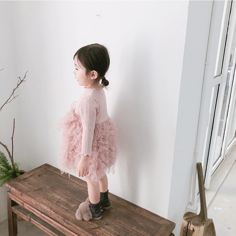 2019 Cotton Long Sleeve Knitted Kids Dresses For Girls Toddler Clothing Baby Girl Drees Tulle Patchwork Grey Pink White Spring 14