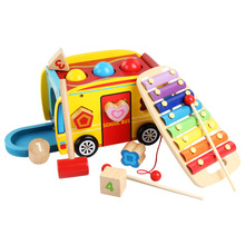 Multi function Drawable School Bus model building blocks Xylophone knocking Ball Game Set Baby Wooden Car Block Toys Montessori mamimamihome baby wooden detachable chute car multi layer track scooter montessori toys for children building blocks