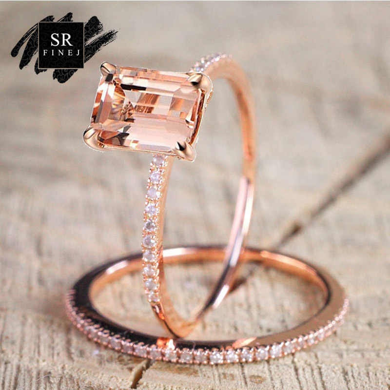 SR:FINEJ 2Pcs Fashion Ring/Set Rose Gold Filled White Crystal Zircon Wedding Engagement Ring Size 6-10 Bague Femme Jewelry
