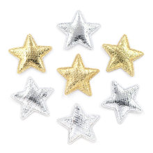 100 pçs 25mm ouro e prata pano estrela applique pano acolchoado remendos para diy artesanato/roupas/hairpin/casamento decoração k53