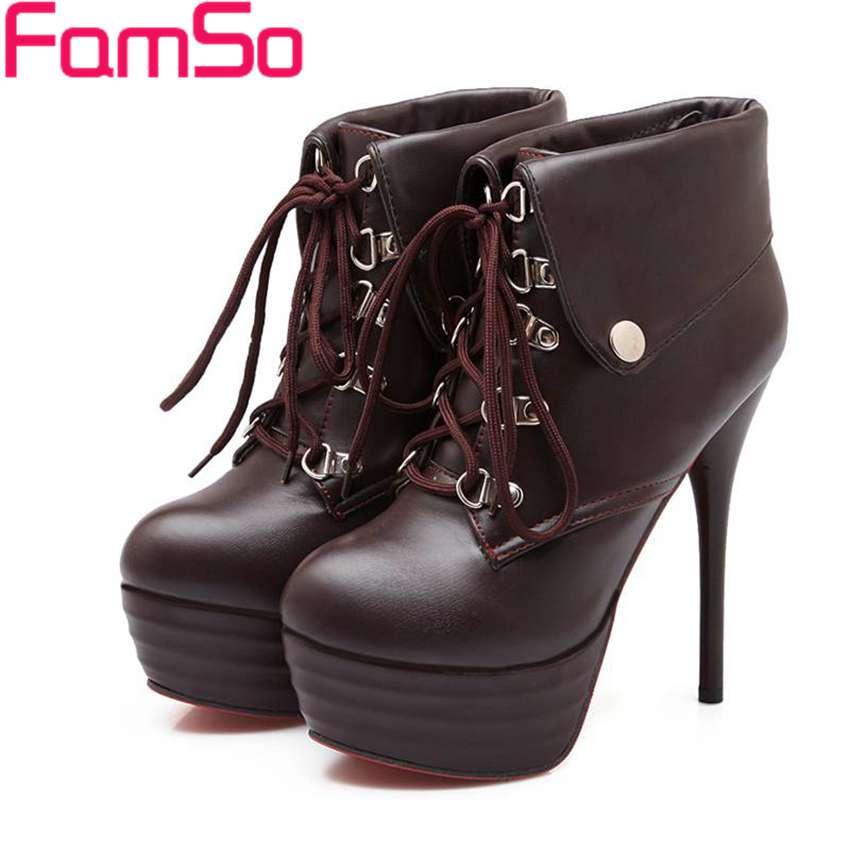 Plus Size34 43 2016 Sexy font b Women b font Boots Autumn platforms High Heels Pumps