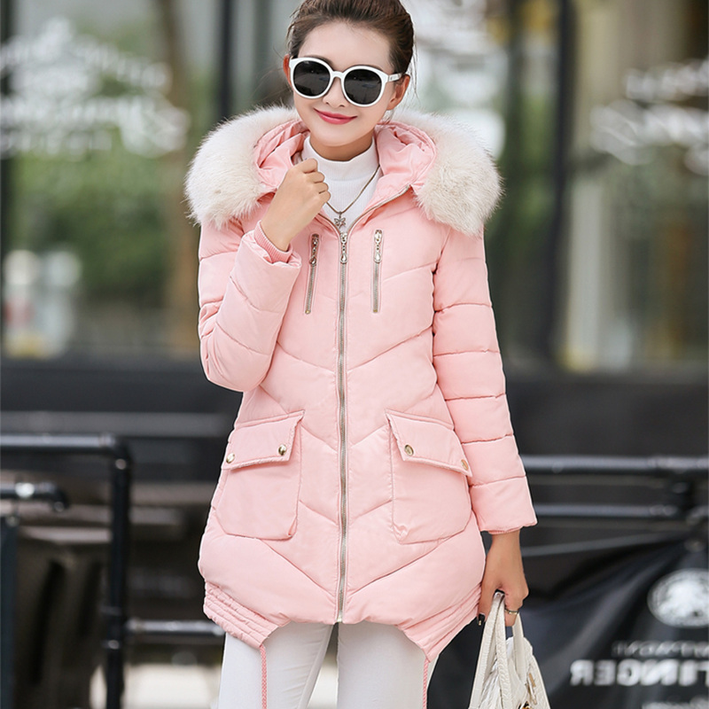 Newest 2016 Winter Women's Parkas Thicken Coat Outwear Long Sleeve Faux Fur Hooded Cotton+Padded Coats Overcoat Mujer