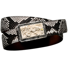 3980 genuine boa leather 3D carved dragon super ivory & sterling silver buckle super quality durable stylish handmade belt